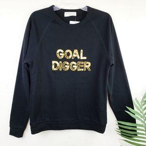 "NEW Bow & Drape ""Goal Digger"" Spellout Sweatshirt"
